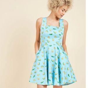 ModCloth Avocado Dress Ixia Retro Swing Large
